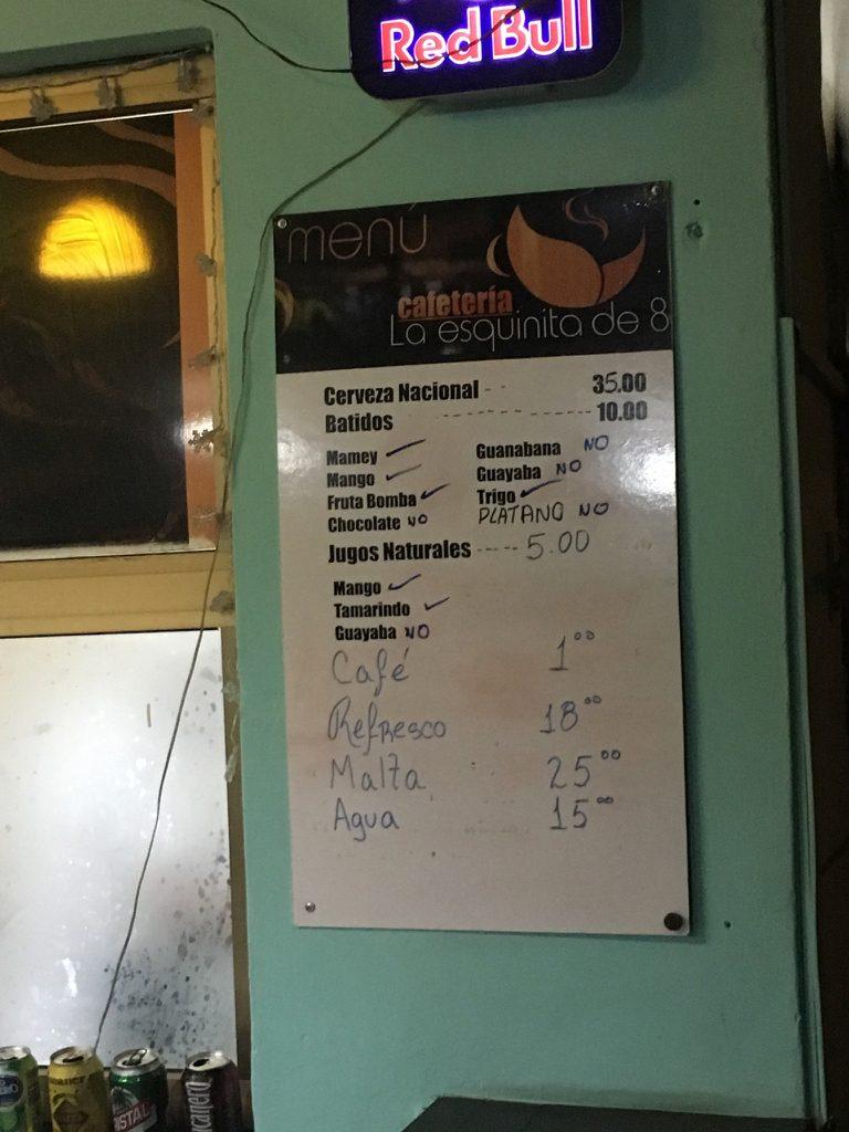 Hawana, bar Esquina menu