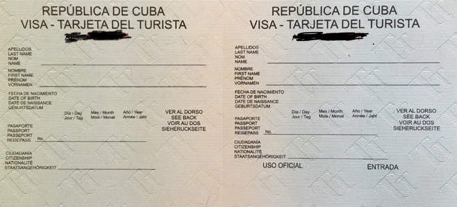 Karta turysty na Kubie